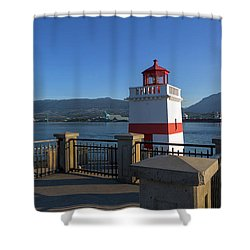 Brockton Point Lighthouse In Vancouver Bc Shower Curtain by David Gn