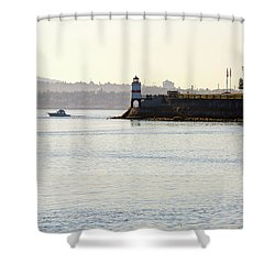 Brockton Point Lighthouse On Peninsula At Stanley Park Shower Curtain by David Gn