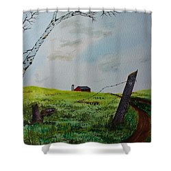 Shower Curtain featuring the painting Broken Fence by Jack G  Brauer