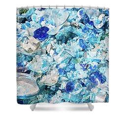 Broken Glass Blue Shower Curtain