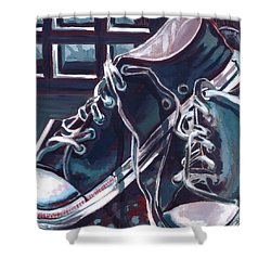 Broken-in Converse Shower Curtain by Shawna Rowe