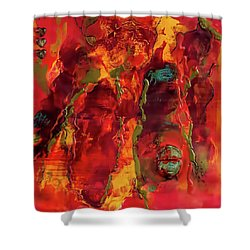 Broken Mask Encaustic Shower Curtain