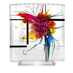Shower Curtain featuring the digital art Broken Pattern By Nico Bielow by Nico Bielow