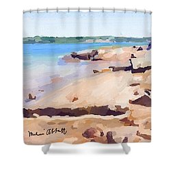 Broken Rock Walkway At Ten Pound Island Beach Shower Curtain