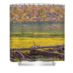 Broken Wagon In A Field Of Flowers Shower Curtain by Marc Crumpler