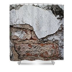 Broken White Stucco Wall With Weathered Brick Texture Shower Curtain