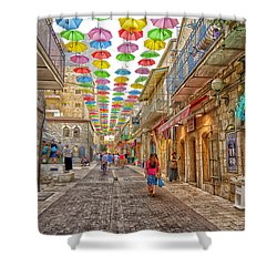Brollies Over Jerusalem Shower Curtain