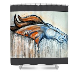 Bronco Shower Curtain by Jennifer Godshalk