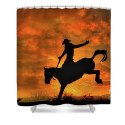 Bronco Riding Sunset Shower Curtain
