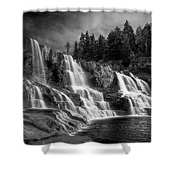 Shower Curtain featuring the photograph Brooding Gooseberry Falls by Rikk Flohr