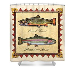 Brook And Rainbow Trout Creme Shower Curtain
