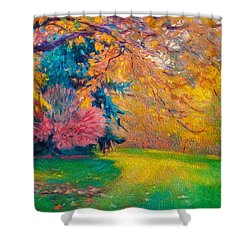 Brook Forest Garden At Fall Shower Curtain