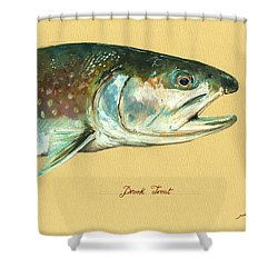 Brook Trout Watercolor Shower Curtain by Juan  Bosco