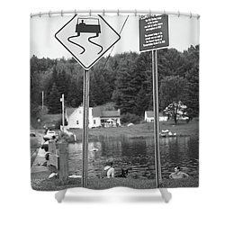 Shower Curtain featuring the photograph Brookfield, Vt - Floating Bridge 2 Bw by Frank Romeo