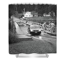 Shower Curtain featuring the photograph Brookfield, Vt - Floating Bridge 3 Bw by Frank Romeo