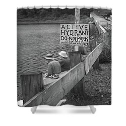 Shower Curtain featuring the photograph Brookfield, Vt - Floating Bridge 4 Bw by Frank Romeo