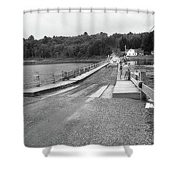 Shower Curtain featuring the photograph Brookfield, Vt - Floating Bridge 5 Bw by Frank Romeo