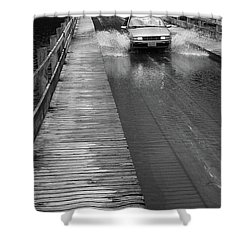 Shower Curtain featuring the photograph Brookfield, Vt - Floating Bridge Bw by Frank Romeo