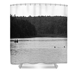 Shower Curtain featuring the photograph Brookfield, Vt - Swimming Hole 2006 Bw by Frank Romeo