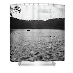 Shower Curtain featuring the photograph Brookfield, Vt - Swimming Hole Bw 2 by Frank Romeo