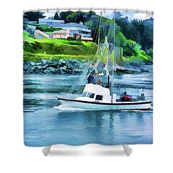 Brookings Boat Oil Painting Shower Curtain by Wendy McKennon