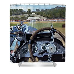 Brooklands From The Hot Seat  Shower Curtain by Richard Wheatland