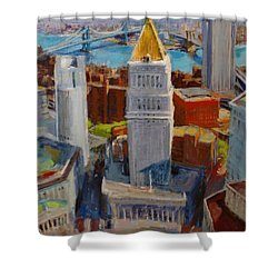 Brooklyn And East River Bridges From Foley Square Shower Curtain by Peter Salwen