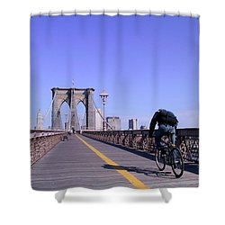 Brooklyn Bridge Bicyclist Shower Curtain