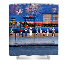 Brooklyn Bridge Fireworks Shower Curtain