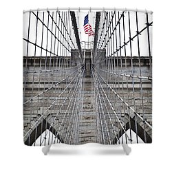 Brooklyn Bridge Flag Shower Curtain
