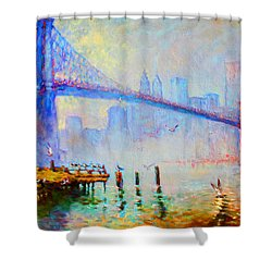Brooklyn Bridge In A Foggy Morning Shower Curtain by Ylli Haruni