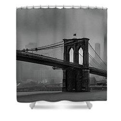Brooklyn Bridge In A Storm 2 Shower Curtain