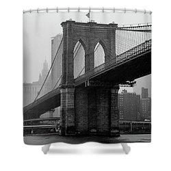 Brooklyn Bridge In A Storm Shower Curtain