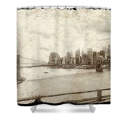 Shower Curtain featuring the painting Brooklyn Bridge by Joan Reese