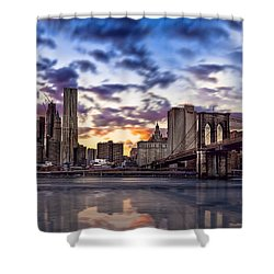 Brooklyn Bridge Manhattan Sunset Shower Curtain