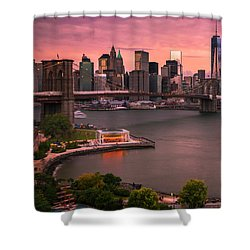 Brooklyn Bridge Over New York Skyline At Sunset Shower Curtain