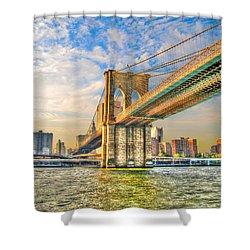 Brooklyn Bridge Shower Curtain by Randy Aveille