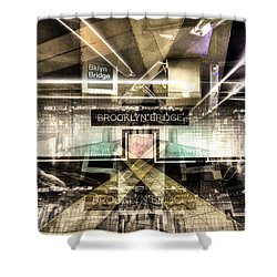 Shower Curtain featuring the photograph Brooklyn Bridge Station Collage by Dave Beckerman