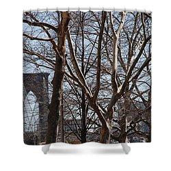 Brooklyn Bridge Thru The Trees Shower Curtain by Rob Hans