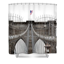 Shower Curtain featuring the photograph Brooklyn Bridge Top by Peter Simmons