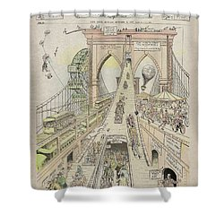 Shower Curtain featuring the photograph Brooklyn Bridge Trolley Right Of Way Controversy 1897 by Daniel Hagerman