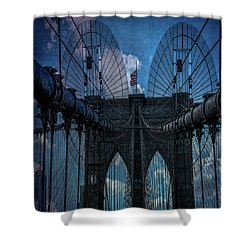 Shower Curtain featuring the photograph Brooklyn Bridge Webs by Chris Lord