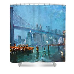 Brooklyn Bridge Shower Curtain by Ylli Haruni