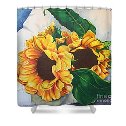 Shower Curtain featuring the painting Brooklyn Sun by Angela Armano