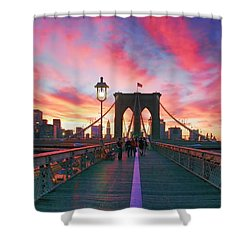 Brooklyn Sunset Shower Curtain by Rick Berk