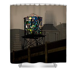 Shower Curtain featuring the photograph Brooklyn Water Tower by Chris Lord
