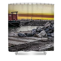 Brooklyn Waterfront Sunset Shower Curtain