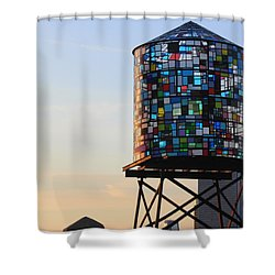 Brooklyn's Glowing Glass Water Tower - Public Art Shower Curtain