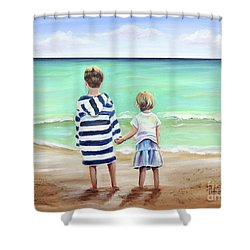 Shower Curtain featuring the painting Brother And Sister by Patricia Piffath