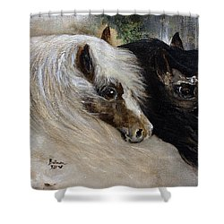 Shower Curtain featuring the painting Brothers by Barbie Batson